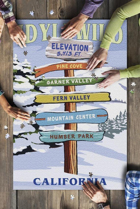 Idyllwild, California - Destination Signpost - Winter 110107 (19x27 Premium 1000 Piece Jigsaw Puzzle