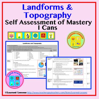 Earth Science Landforms  Topography I Cans Student Self-Assessment