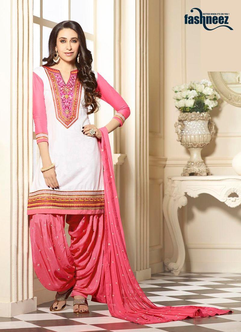 65b766aff4 Outstanding craftmanship of embellishments exhibited in this Karishma  Kapoor off white and pink cotton designer patiala salwar kameez.