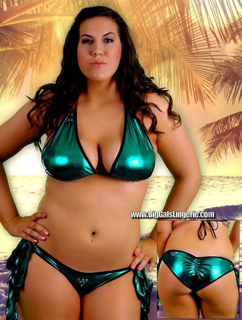 b63e3233d0 Stunning Shiny Metallic Liquid Lame  Scrunch-butt brazilian style bikini w   wide side ties and matching fully triangle top featuring metal eyelet  accents on ...