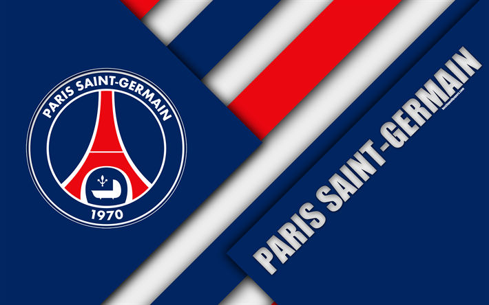Download Wallpapers Paris Saint Germain 4k Material Design Psg Logo Blue Red Abstraction French Football Club Ligue 1 Paris France Football Paris Sg B Paris Saint Paris Saint Germain Paris