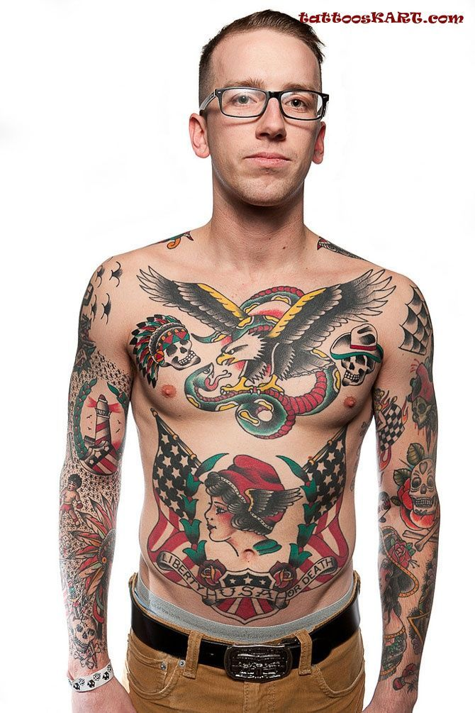 Fighting Eagle And Snake Old School Tattoos On Chest Classic Tats