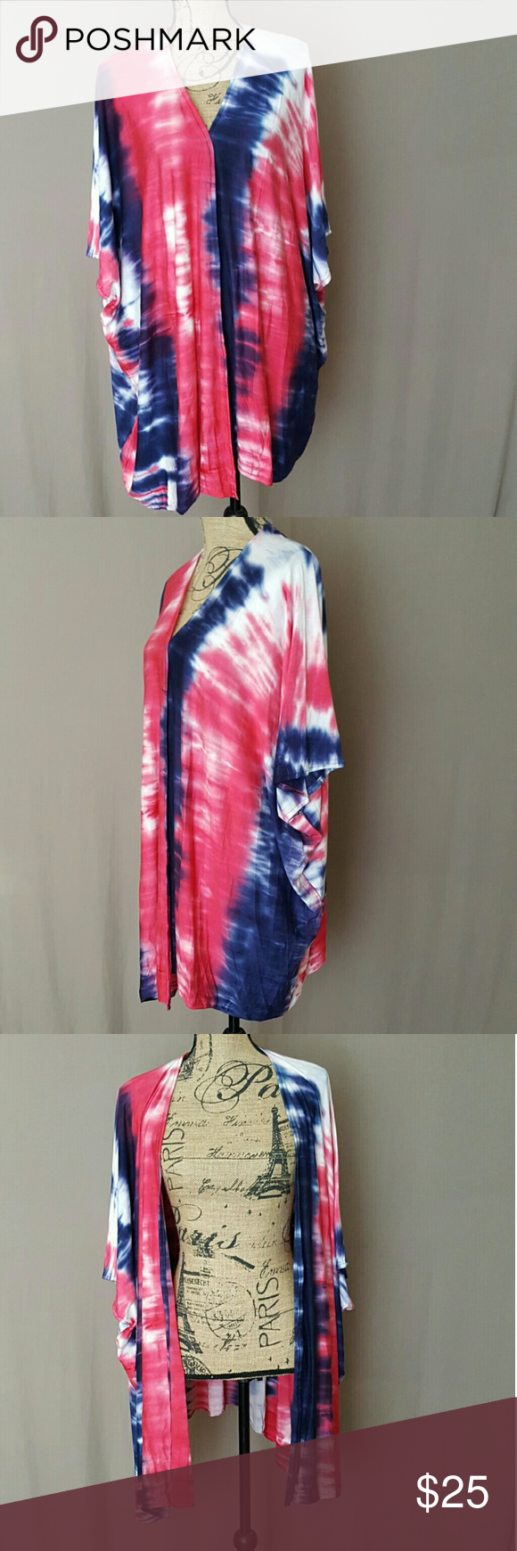 a7882da17 Red, White, Blue Tie Dye Kimono Cardigan Designed with light weight jersey  knit fabric