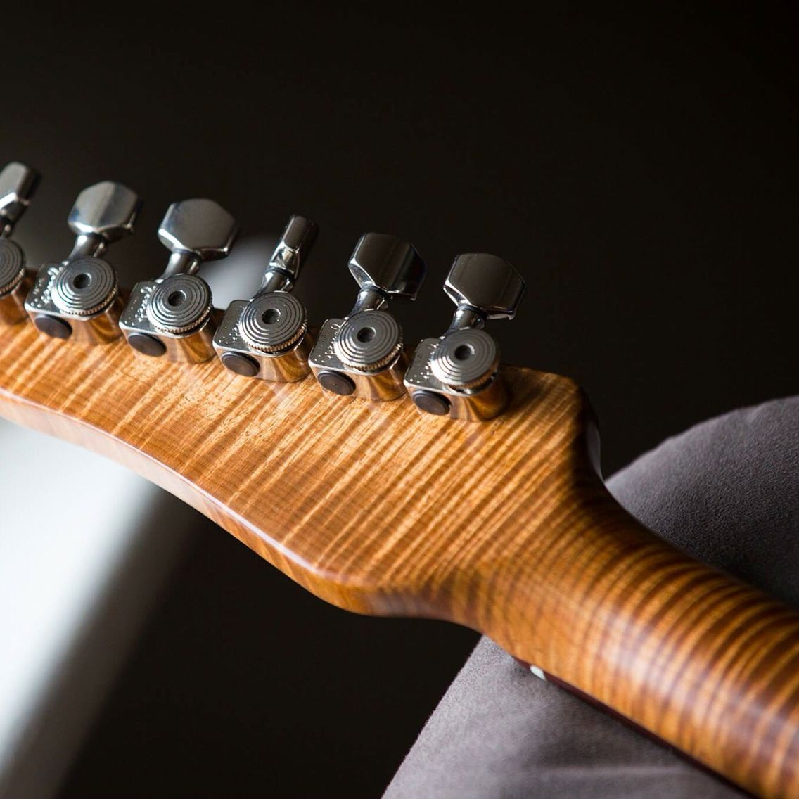Roasted Flame Maple Neck On A Gray Guitars Emperor Model As