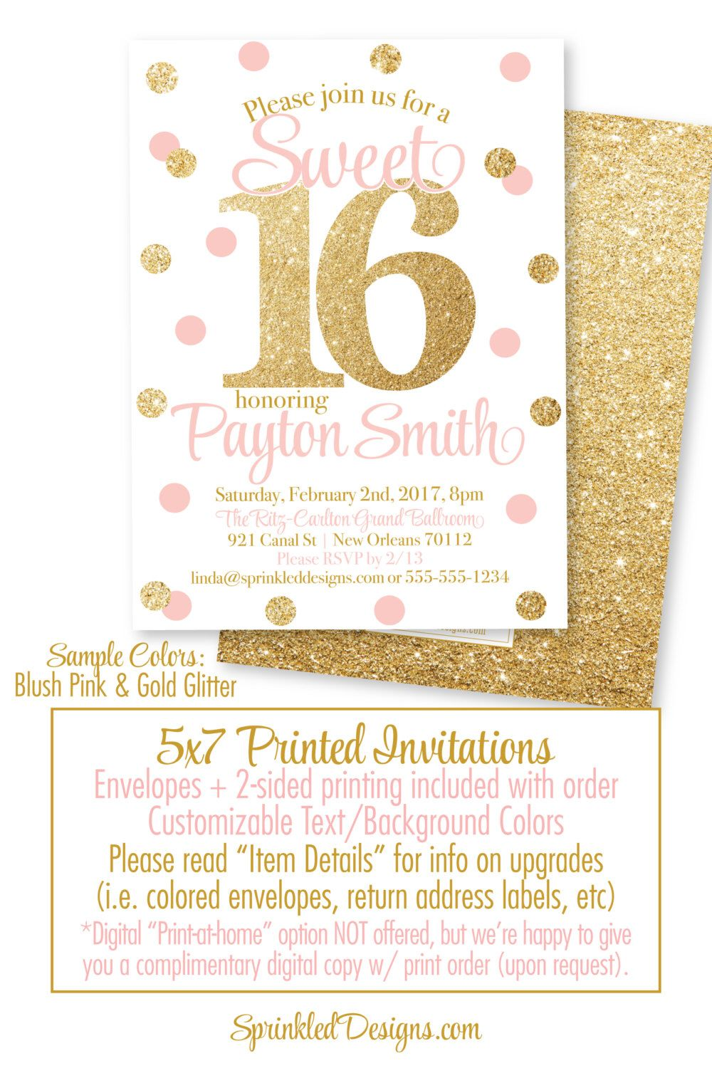 Sweet 16 Invitations - Pink and Gold Glitter Sweet Sixteen ...