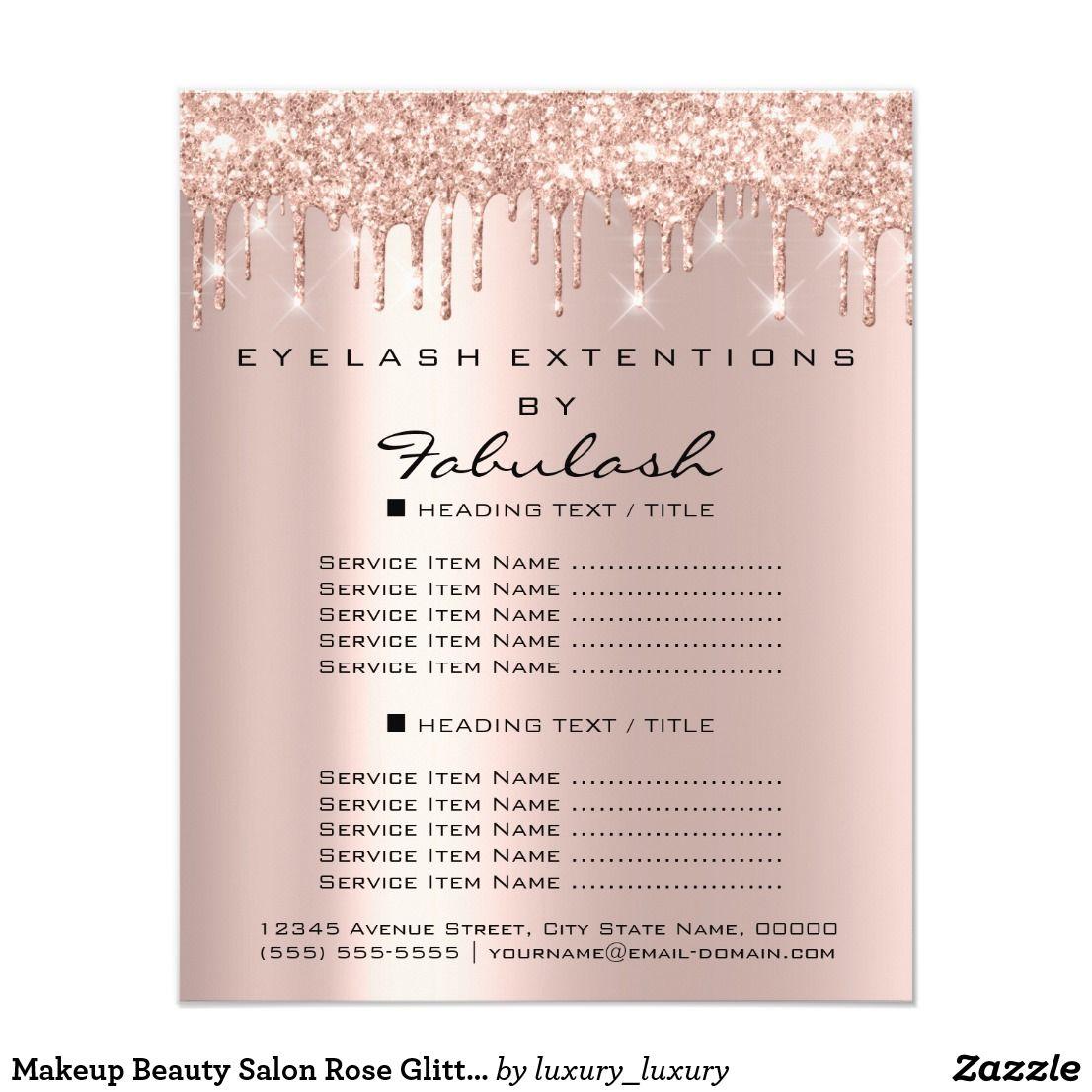Makeup Beauty Salon Rose Glitter Flyer Spark Drips