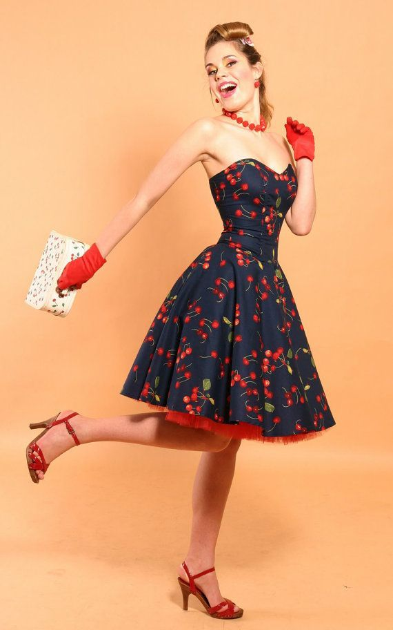 ca824753fd5 Vetement retro robe année 50 pas cher idee tenue cool cerises rouge accent.  Rockabilly Cherry Bomb robe