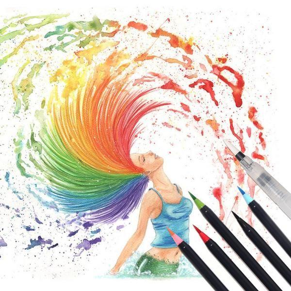 Watercolor Brush Pens - 20 Piece Set | Watercolor brush pen ...