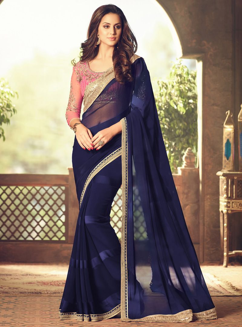 d51e4d649 Buy Navy Blue Georgette Saree With Heavy Blouse 93706 with blouse online at lowest  price from vast collection of sarees at m.indianclothstore.c.