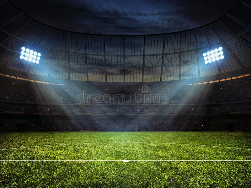 Soccer Football Stadium With Floodlights Sport Concept Background Soccer Foot Sponsored Floodlights Football Stadiums Stadium Wallpaper Football Pitch