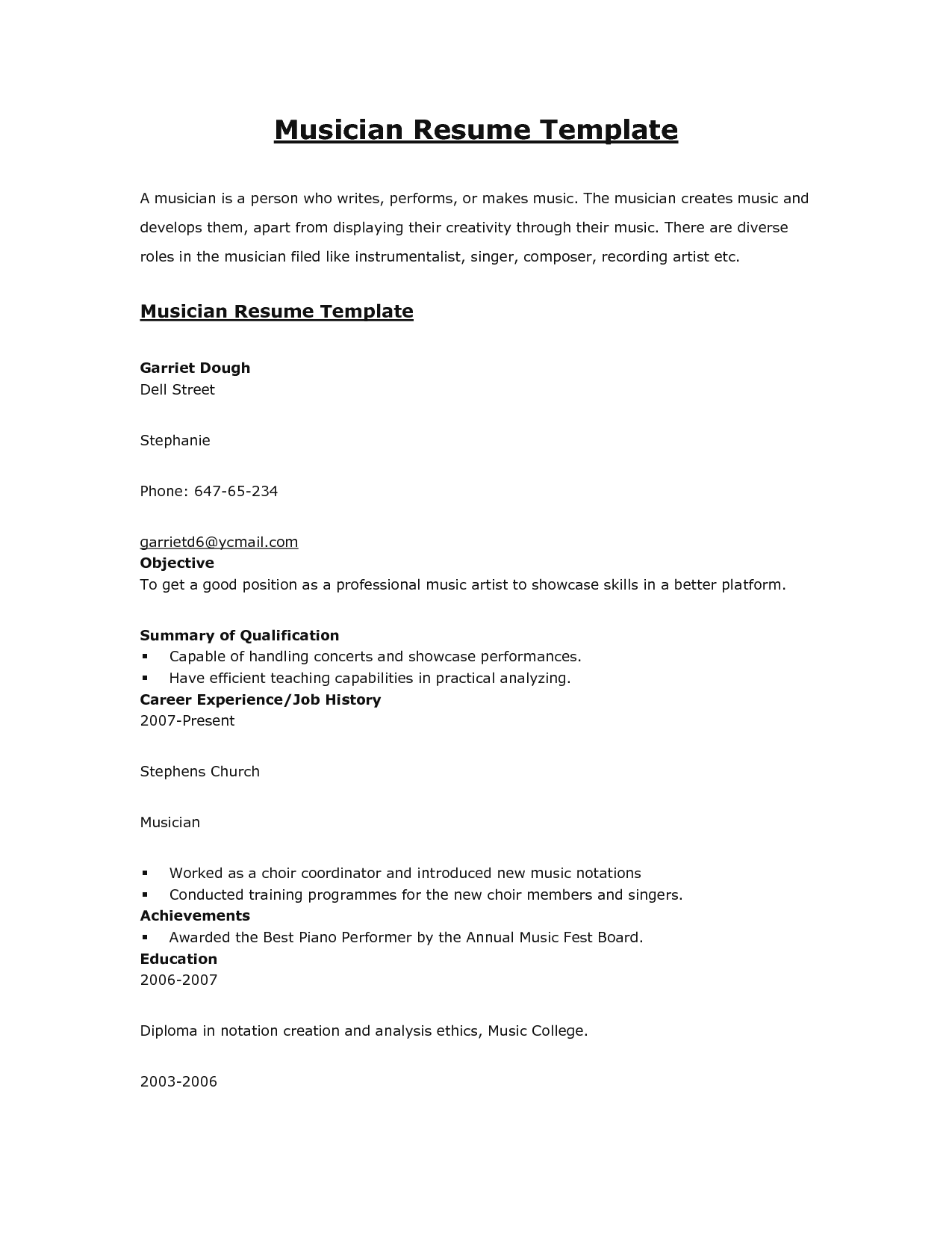 Singer Resume Sample Cover Letter Acting Templates