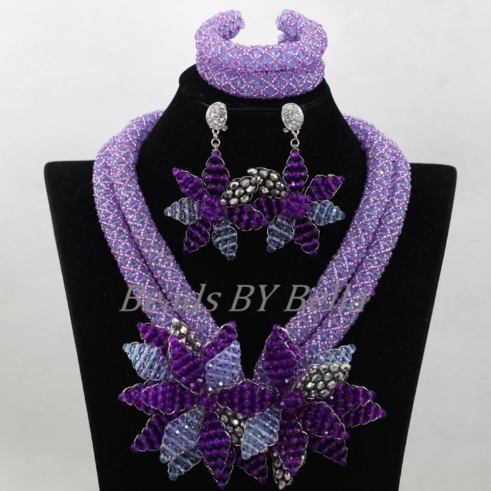 Luxury Women Wedding Beads Flowers Brooch Lilac Crystal African ...