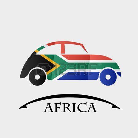 icono del coche hecho de la bandera de África
