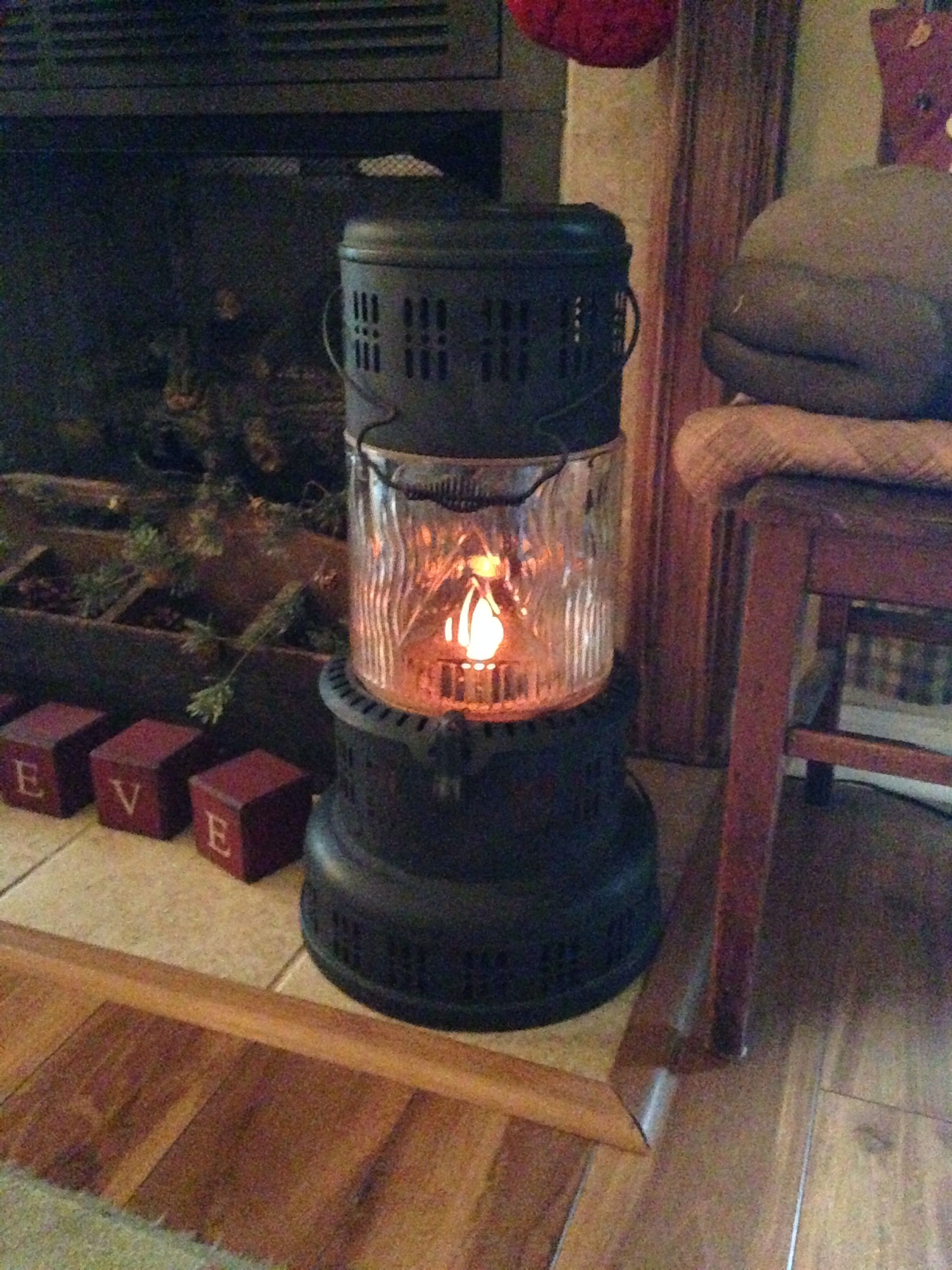Primitive Old Kerosene Heater Turned Into Flickering Lamp I Love This Bought It In Nc Many Years Ago Diy Heater Kerosene Heater Antique Stove