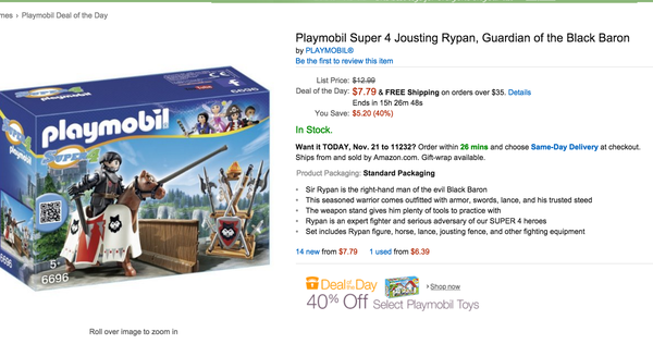 84f92df0fd0 Playmobil Toys 40 percent off on Black Friday deal of the day on Amazon