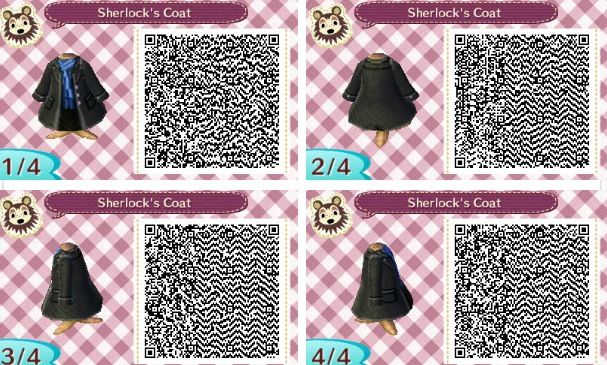 This is my favorite version of Sherlock's coat! Animal Crossing New Leaf qr code