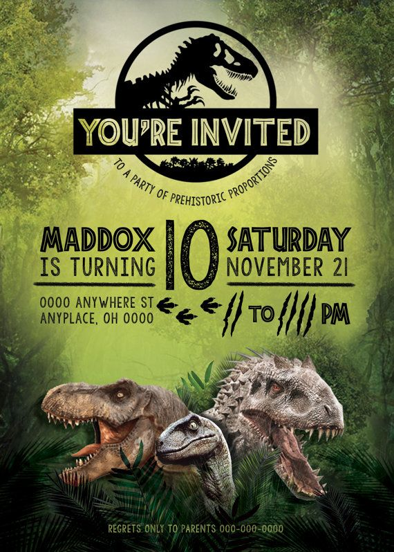 Jurassic World Birthday Invitation Jurassic World Party Jurassic