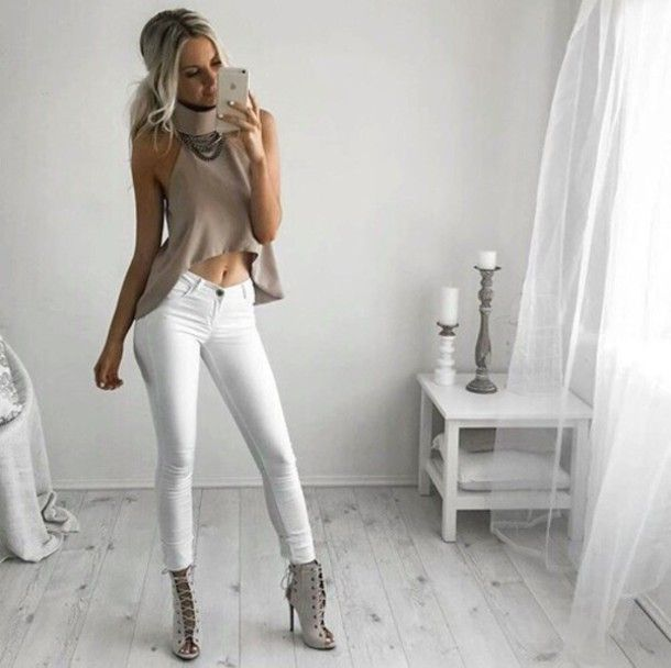 blouse top tank top shirt t-shirt nude white heels booties shoes ...
