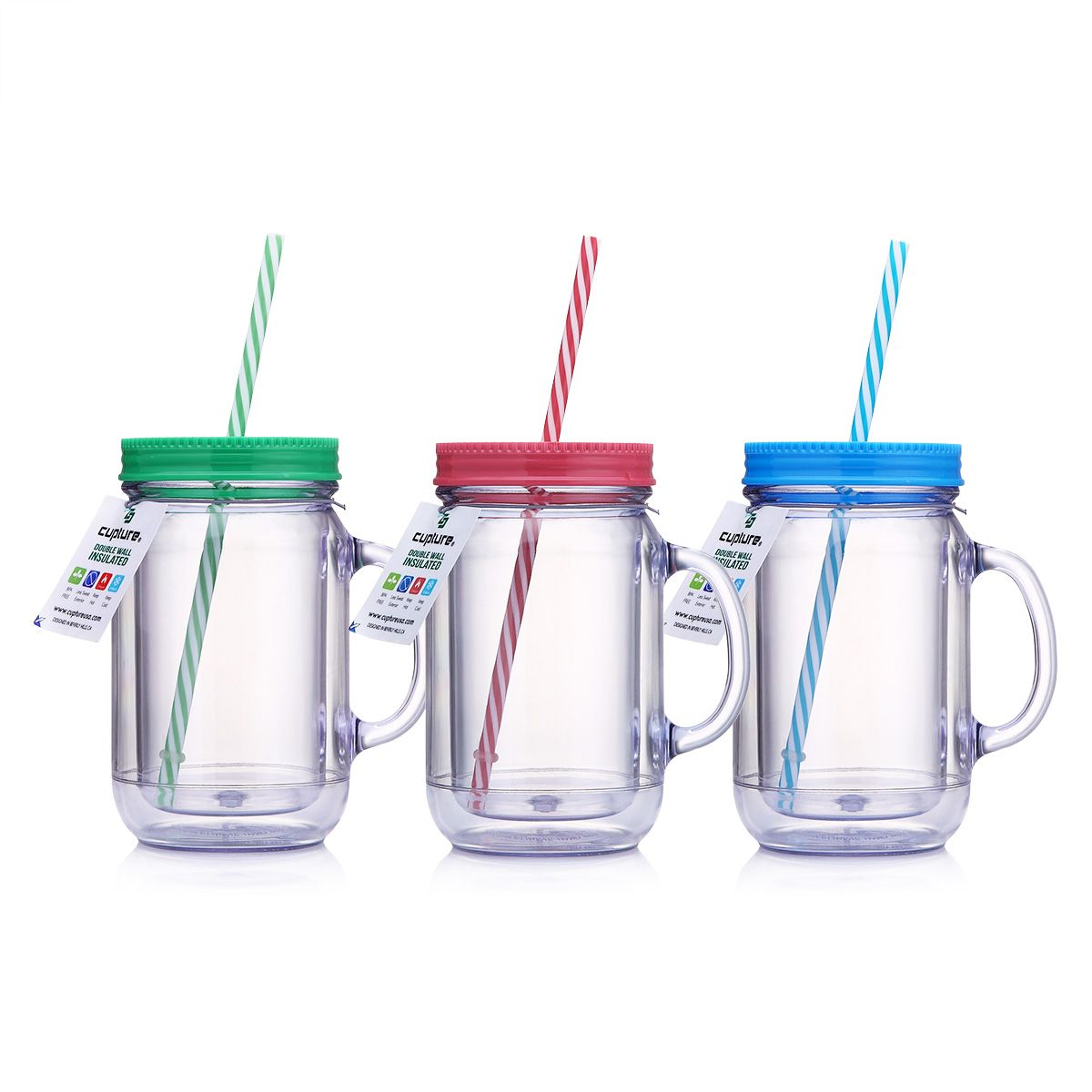 Cupture Double Wall Insulated Plastic Mason Jar Tumbler Mug With Striped Straws 20 Oz 3 Pack Walmart Com In 2020 Mason Jar Tumbler Plastic Mason Jars Mason Jar Drinks