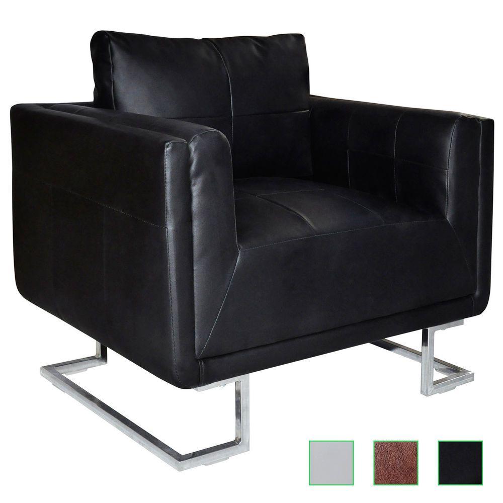 Marvelous Cube Club Chair Accent Armchair Real Leather Chrome Frame Machost Co Dining Chair Design Ideas Machostcouk