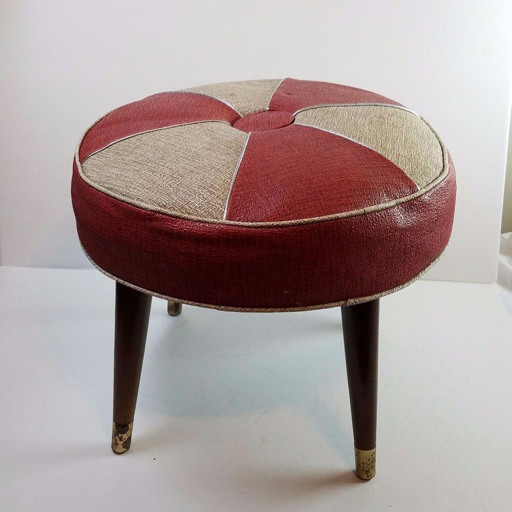 Vtg Mid Century Modern Hassock Ottoman Foot Stool Vinyl Wood Tapered Legs Round Modern Wood Vinyl Midcentury Modern Footstool