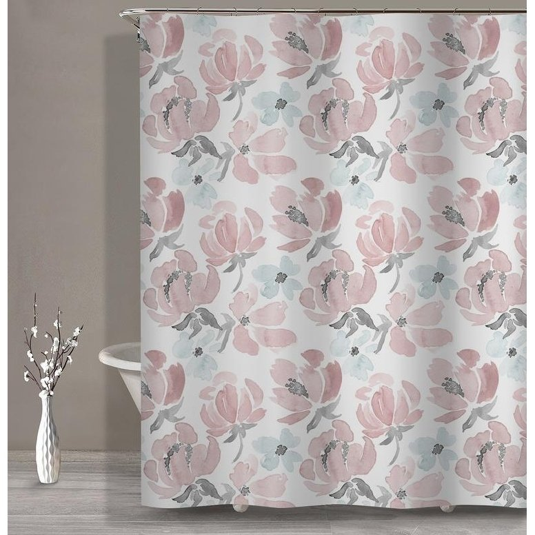 Soft Water Color Floral Shower Curtain Multi Alpha Floral