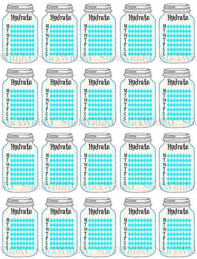 printable mason jar hydrate stickers    planner stickers