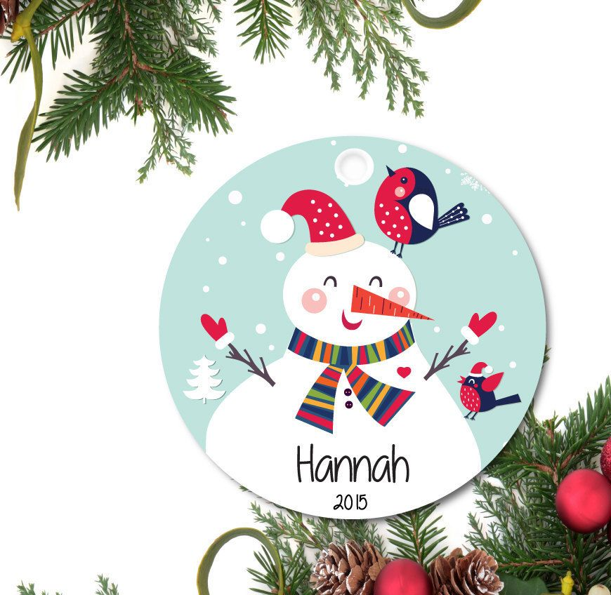 Snowman Ornament, Personalized Christmas Ornament, Girls Ornament