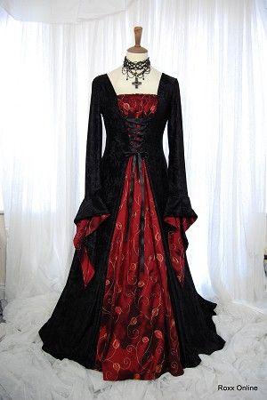 Negro y terciopelo rojo tafetán vestido de boda gótica medieval