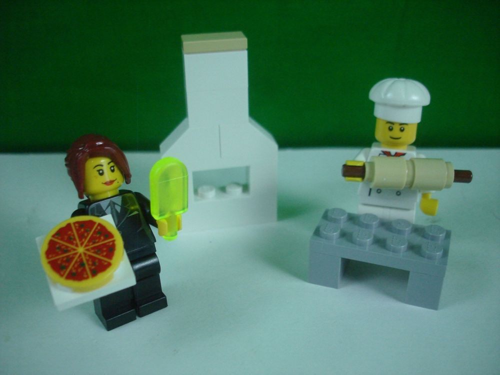 NEW RARE LEGO BAKER AND PIZZA GIRL & ACCESSORIES FROM RETIRED SET ...
