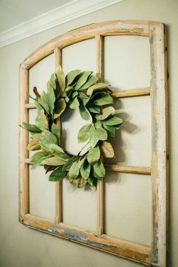 Super cute idea love the magnolia wreath on top of that - Wall hanging ideas for bedrooms ...