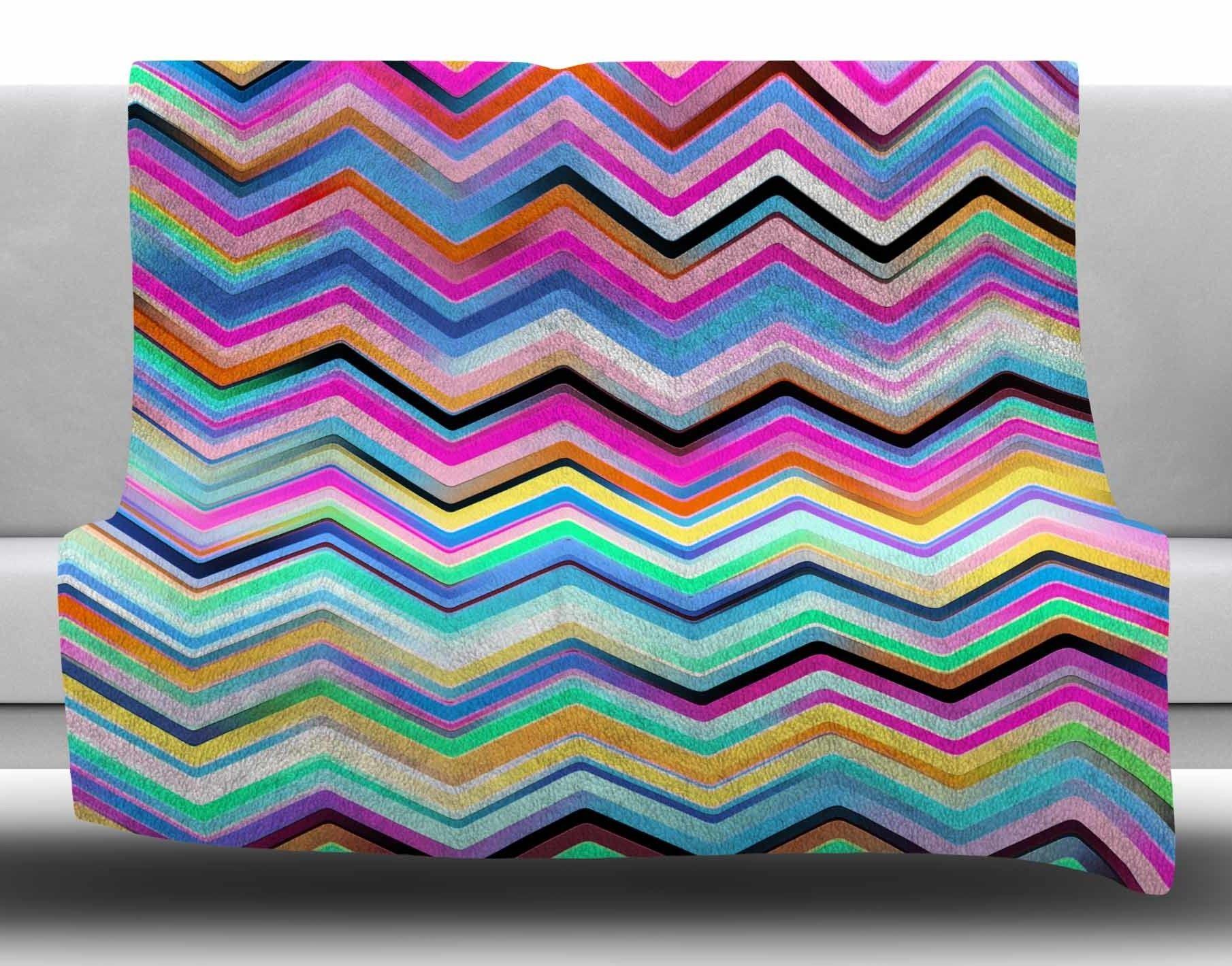 Colorful rainbow chevron by dawid roc fleece blanket products