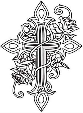 Cross And Roses Image Coloring Pages Adult Coloring Pages