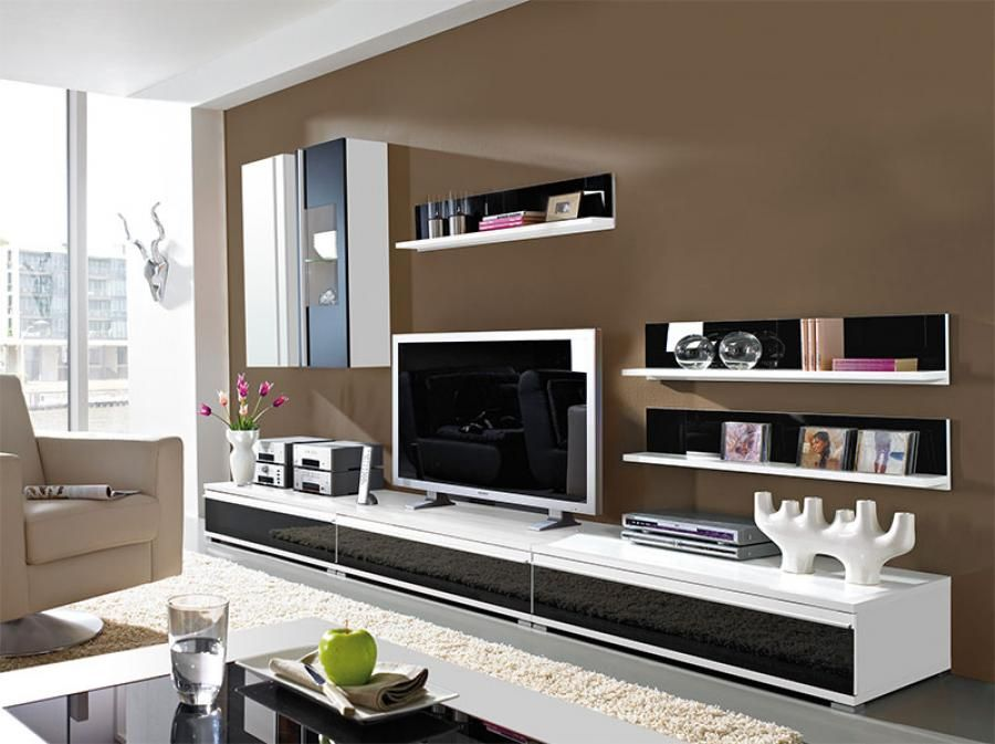 Germania Freestyle Modern Wall Storage System In Black Glass And White