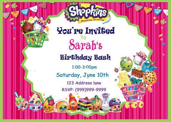 Shopkins Invitation Shopkins Fiesta Invitaciones Cumple Y