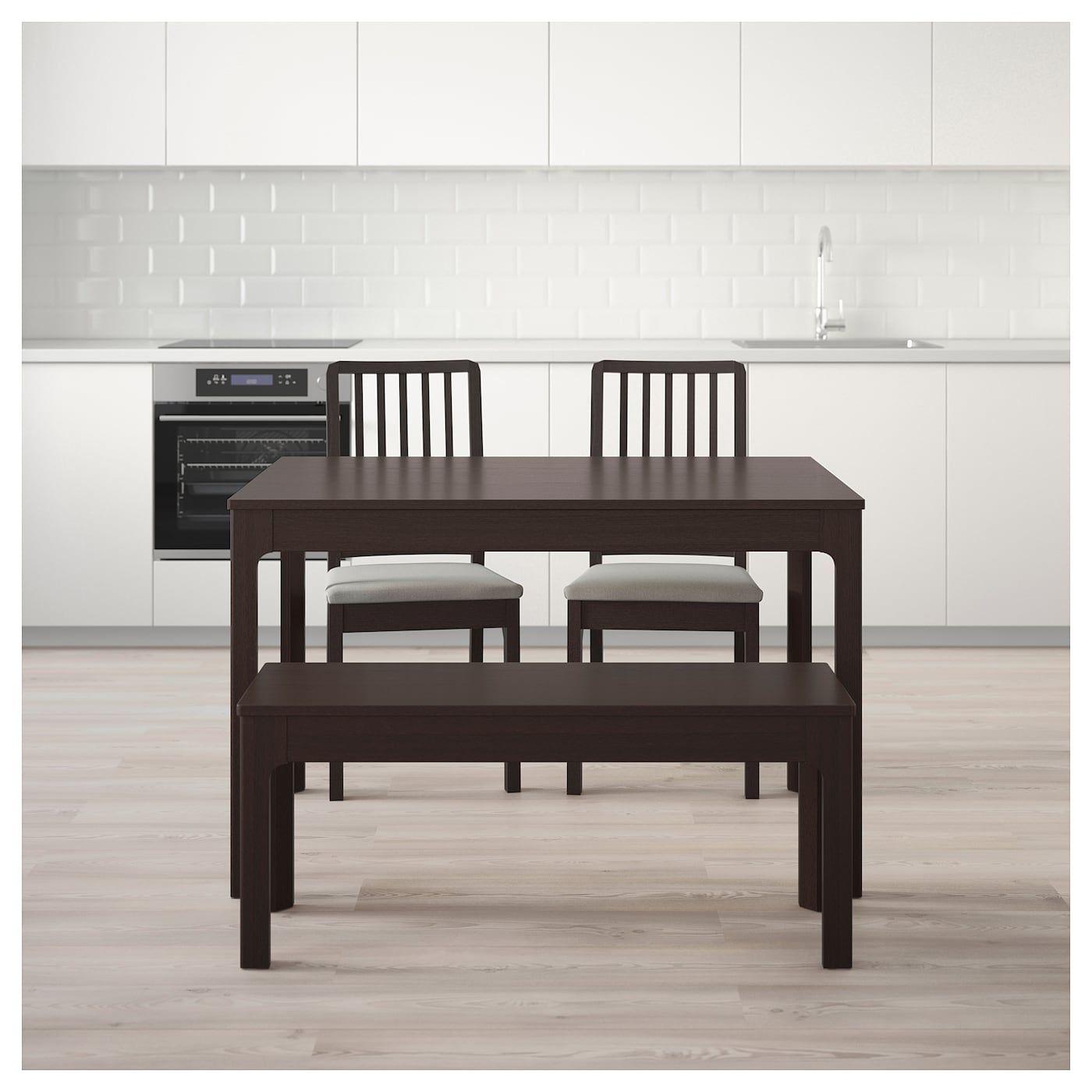 EKEDALEN / Tisch, 2 Stühle + Bank dunkelbraun, Orrsta