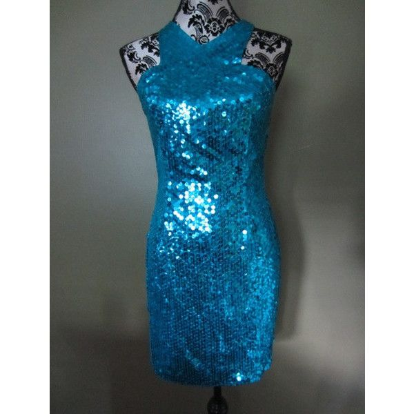 VTG 80s Turquoise Sequin Sleeveless Cocktail Dress S/M New Years Eve ...