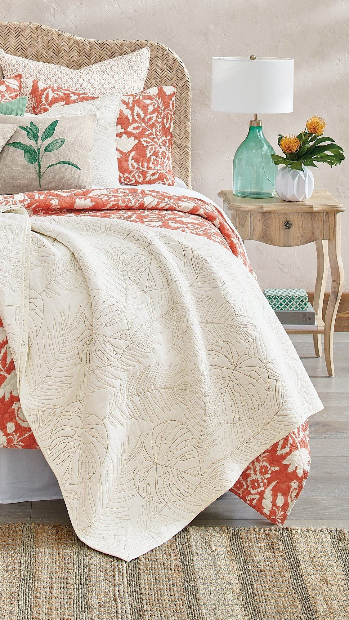 Priano Coral Quilt And Shams Grandin Road In 2020 Coral Bedding Coral Quilt Coral Bedroom