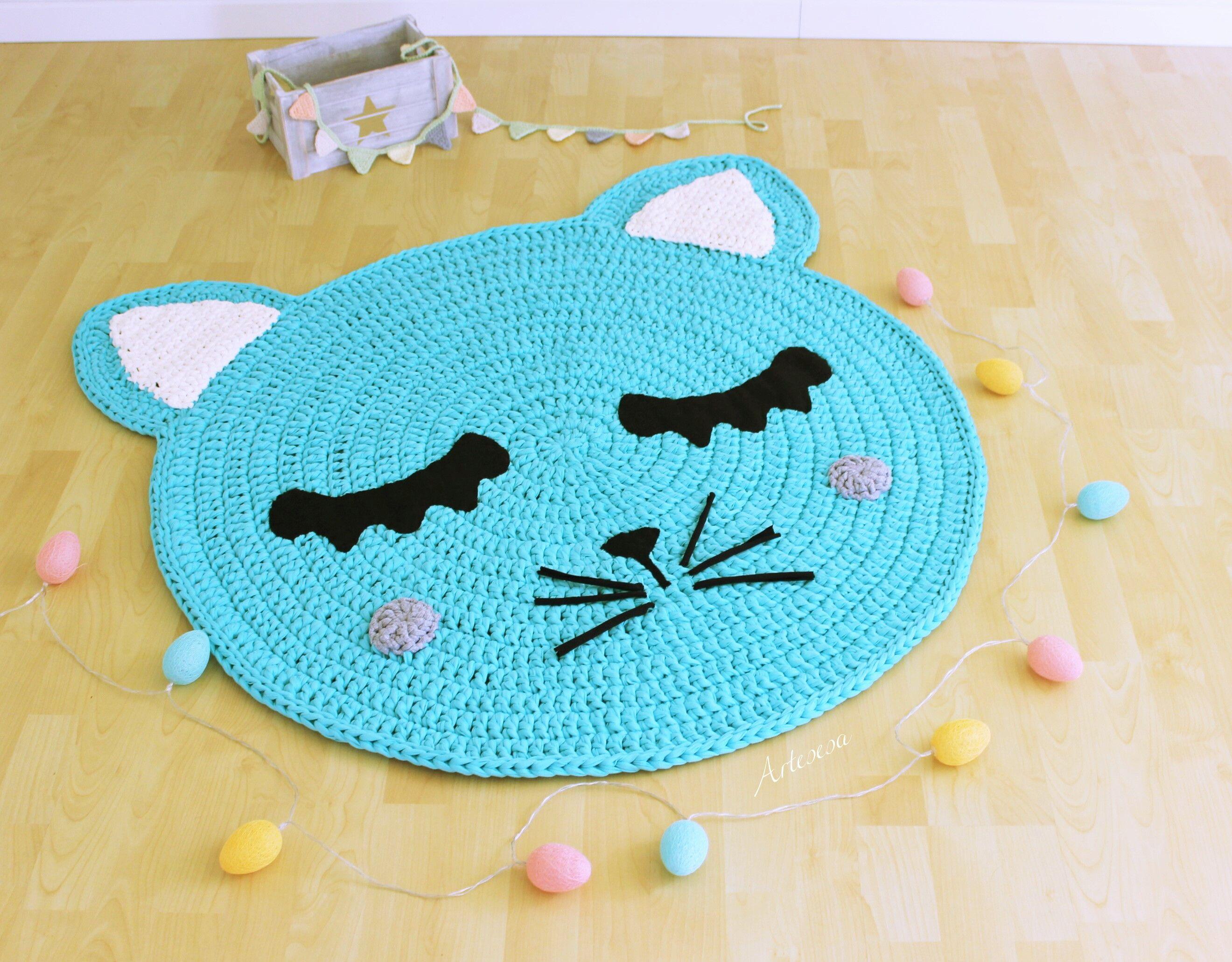 Alfombra gato tejida a mano croch pinterest for Tapetes anudados a mano
