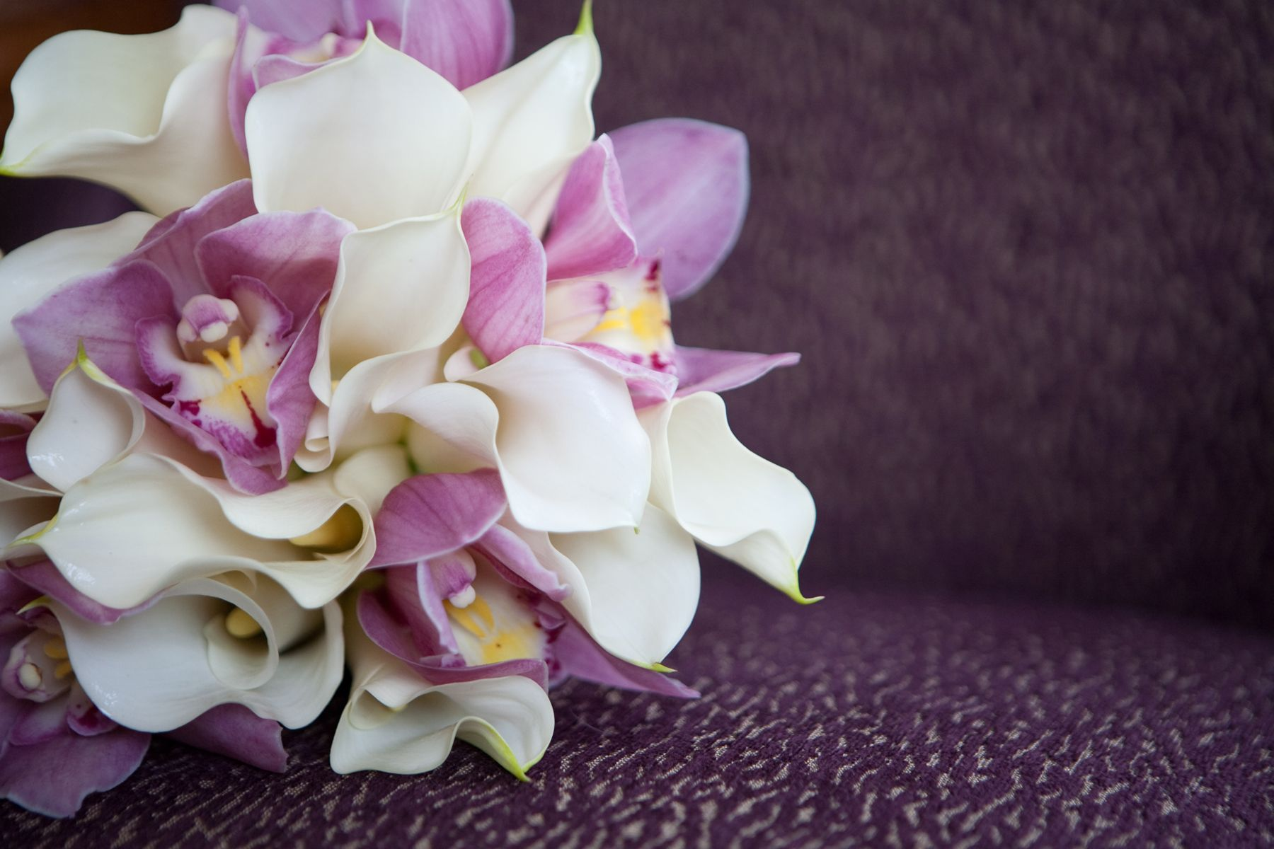 White calla lily and pink cymbidium orchid posy wedding
