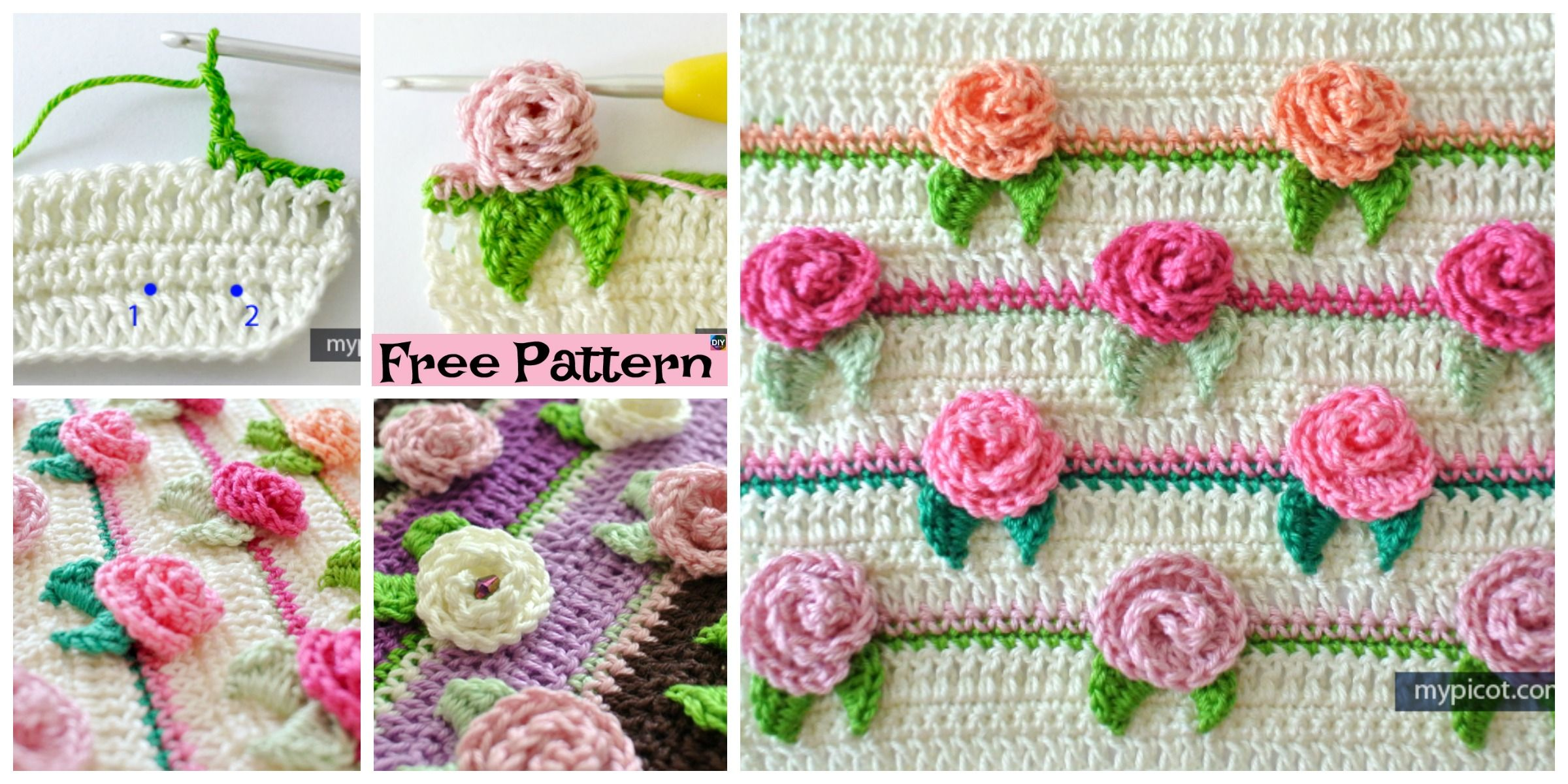 Pretty Crochet Rosebud Stitch Free Pattern Blankets Pinterest