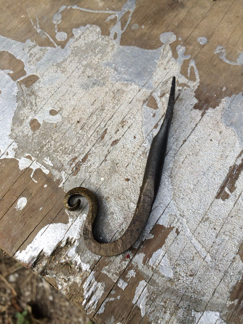 Forged wall hook.