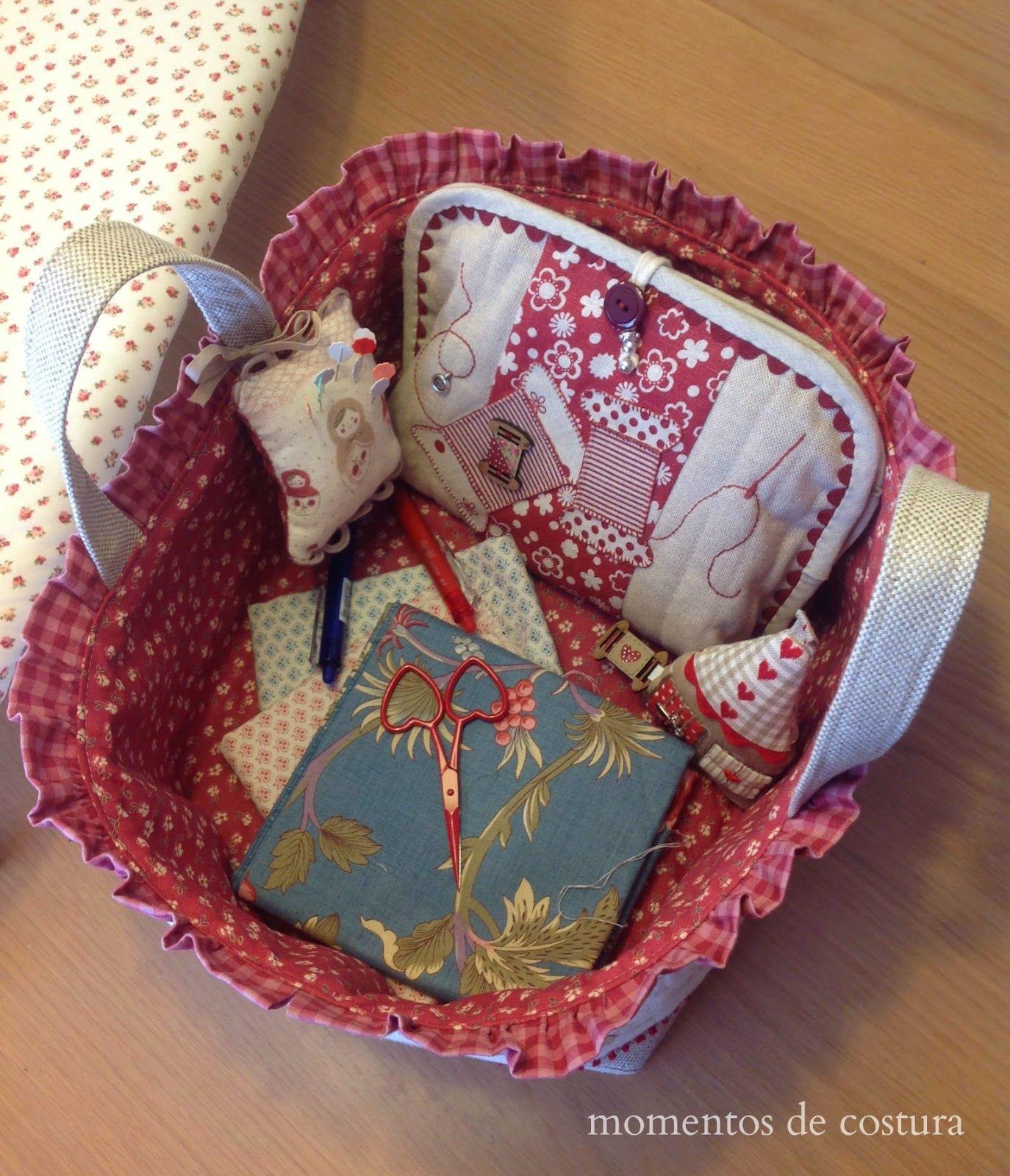 Momentos de costura cesta de tela patchwork y costura - Cesta de costura ...