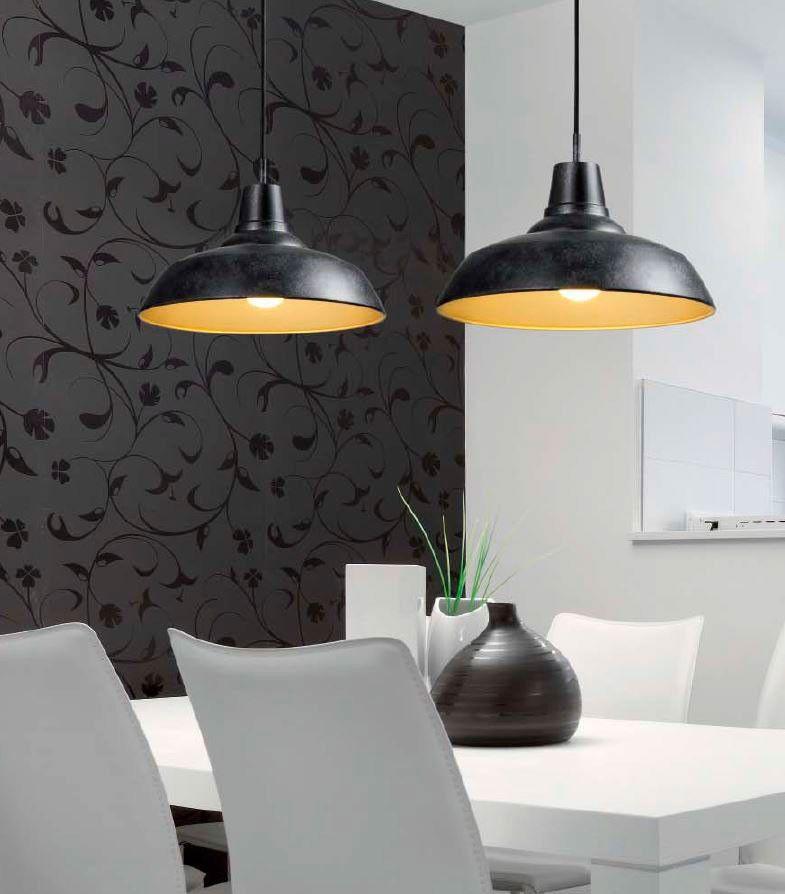 Lámpara de Techo Colgante Campana Negra Metal - 33cm | Lámparas ...