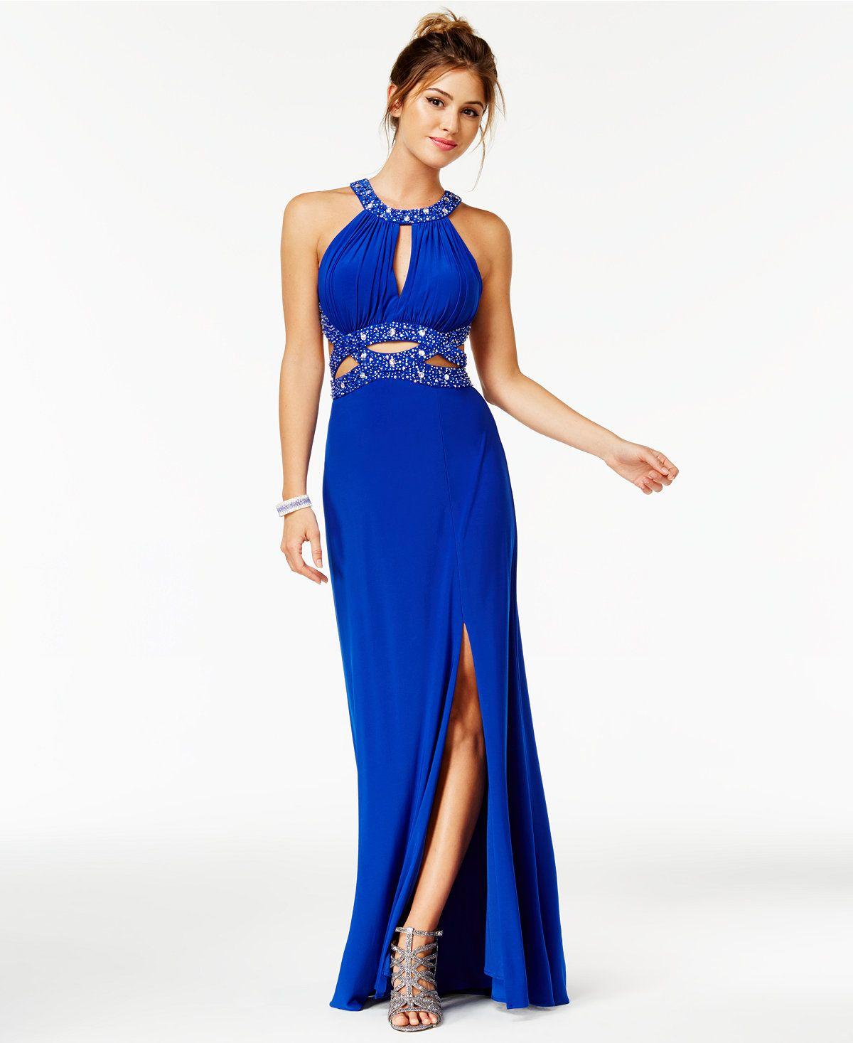Morgan & Company Juniors' Beaded Cutout Halter Gown - Juniors Prom ...