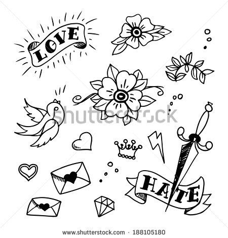 3c2dded1ddb80 set of old school tattoos elements, vector   A Canvas Of Skin ...
