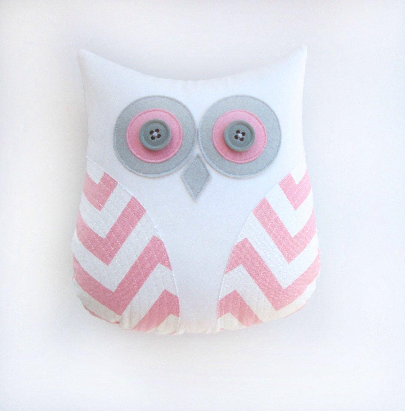 pink owl pillow, pink nursery decor, pink and gray nursery, pink ...