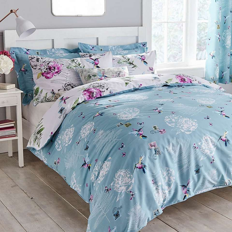 Heavenly Hummingbird Reversible Duck Egg Duvet Cover and