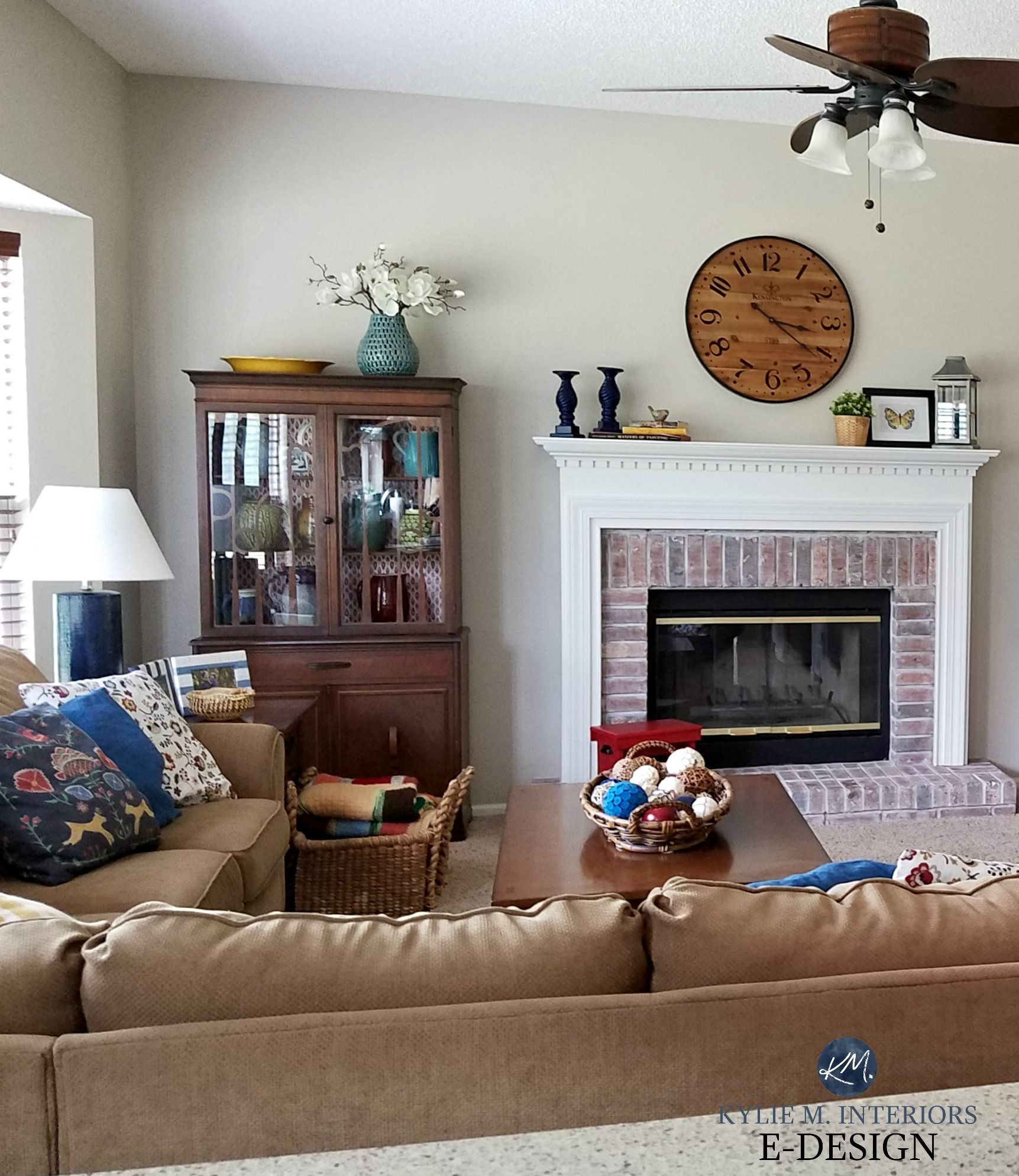 Sherwin Williams Accessible Beige with white washed brick ...