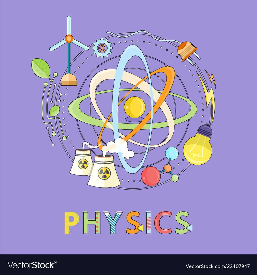 Atom wind and electricity power physics icon vector image